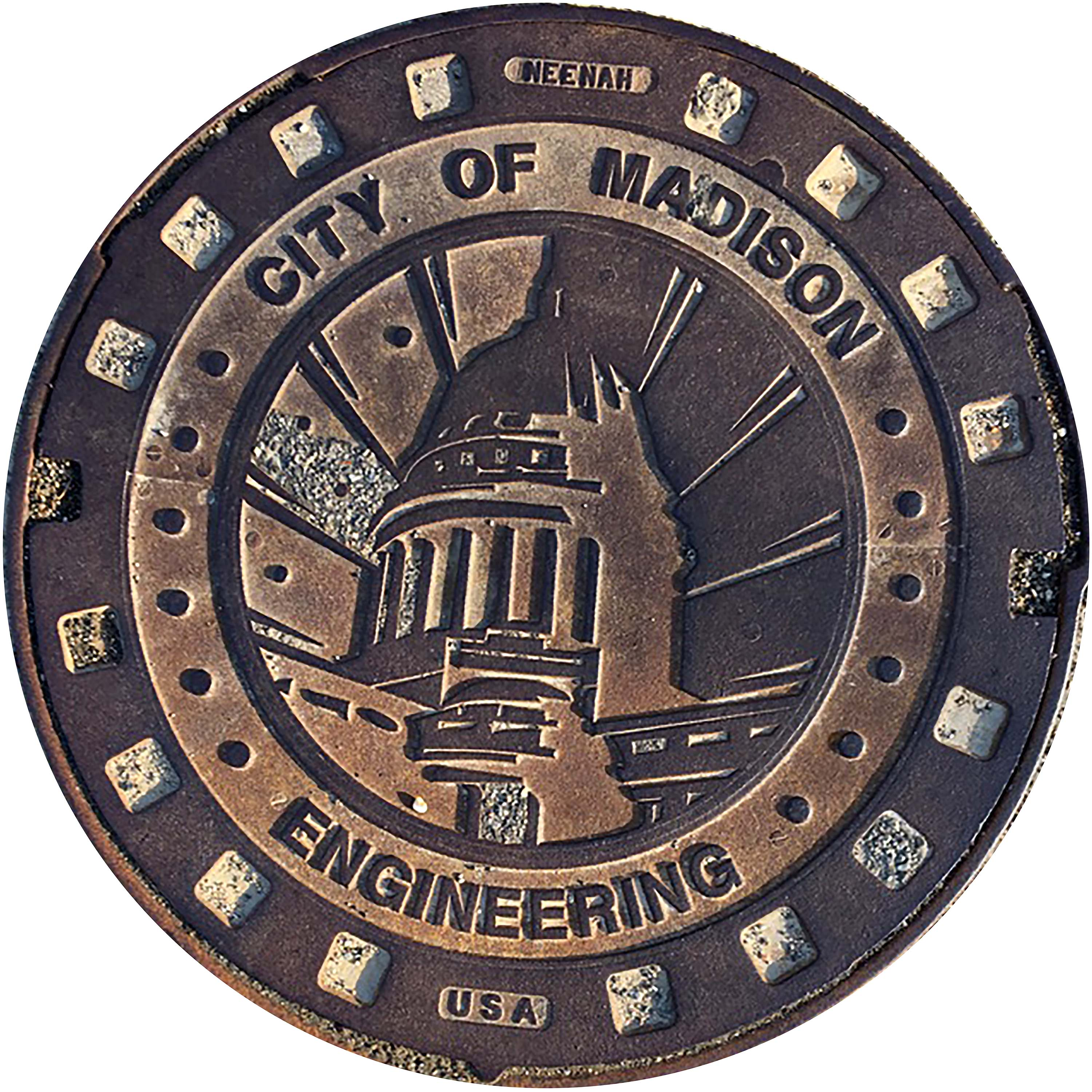 MIDWEST SERIES - Sewer Cover Doormat, Trivet, Coaster - Madison, WI
