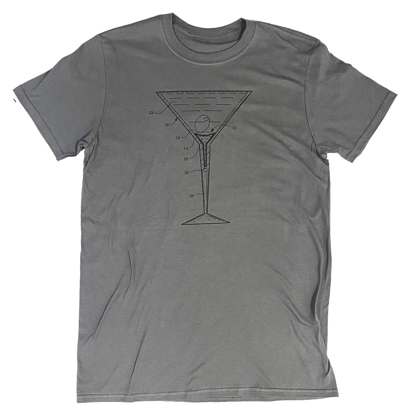Martini Glass Patent T-Shirt Charcoal with Black Ink