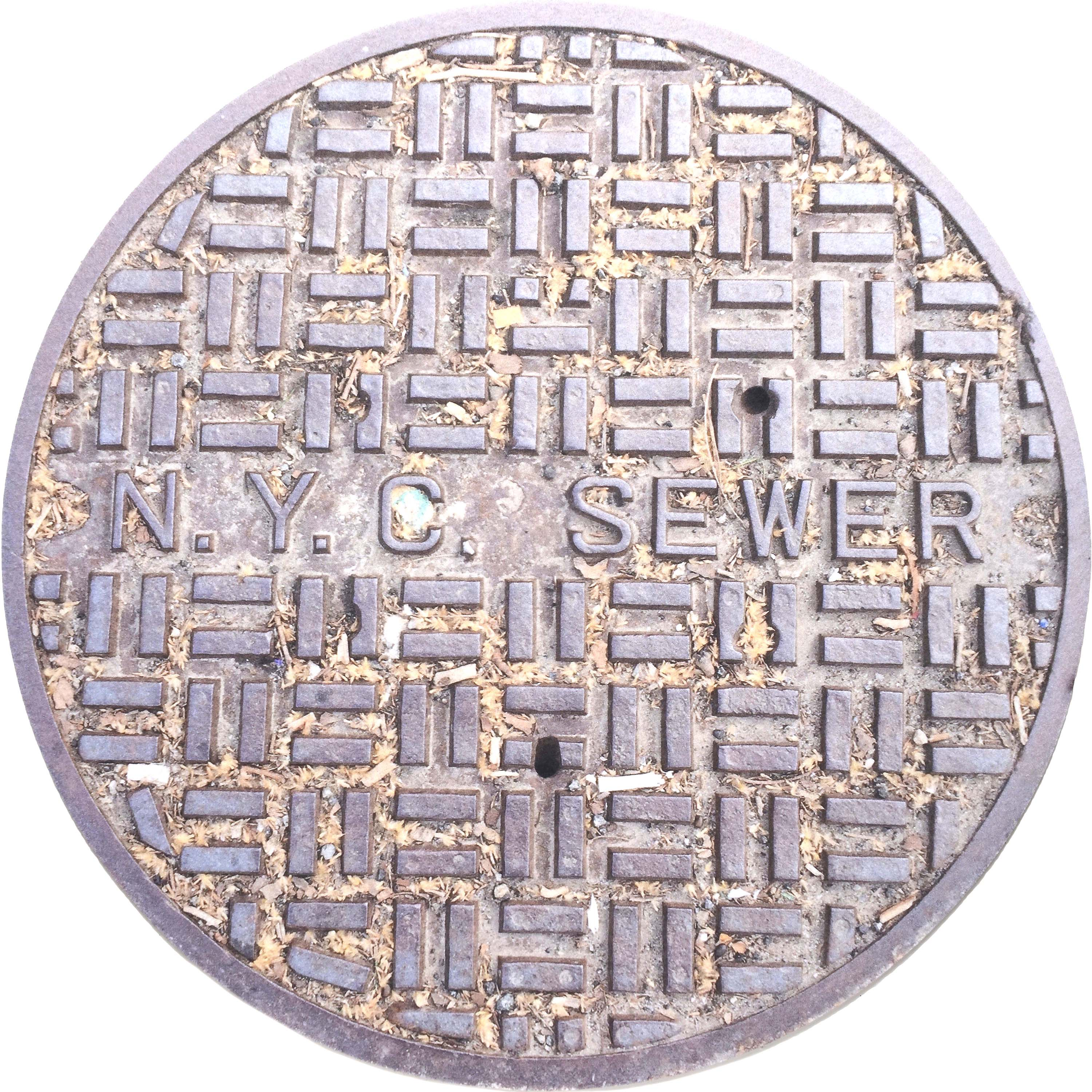 NYC SERIES - Sewer Cover Doormat, Trivet, Coaster - Sawdust - New York, NY