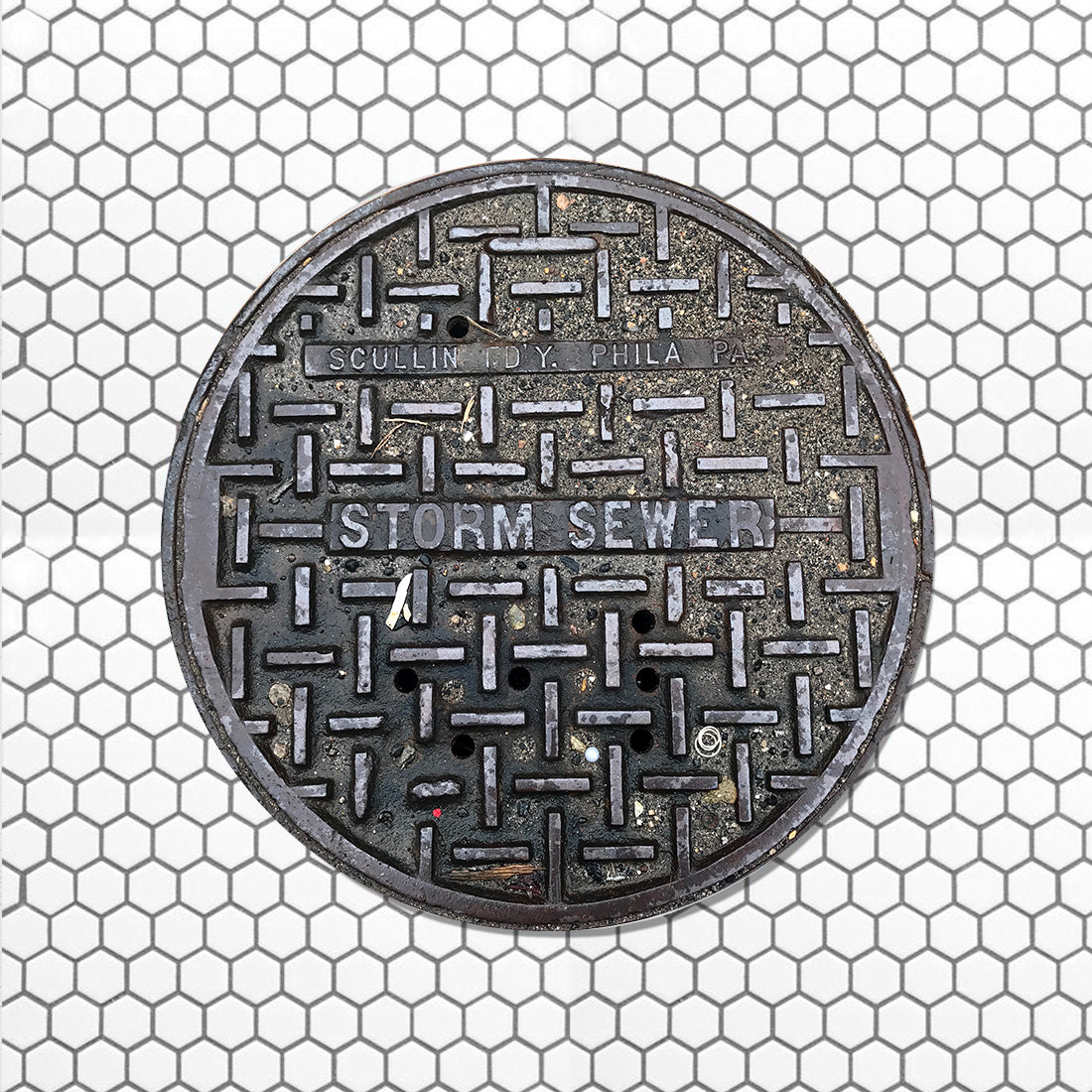 EAST SERIES - Sewer Cover Doormat, Trivet, Coaster - Philadelphia, PA