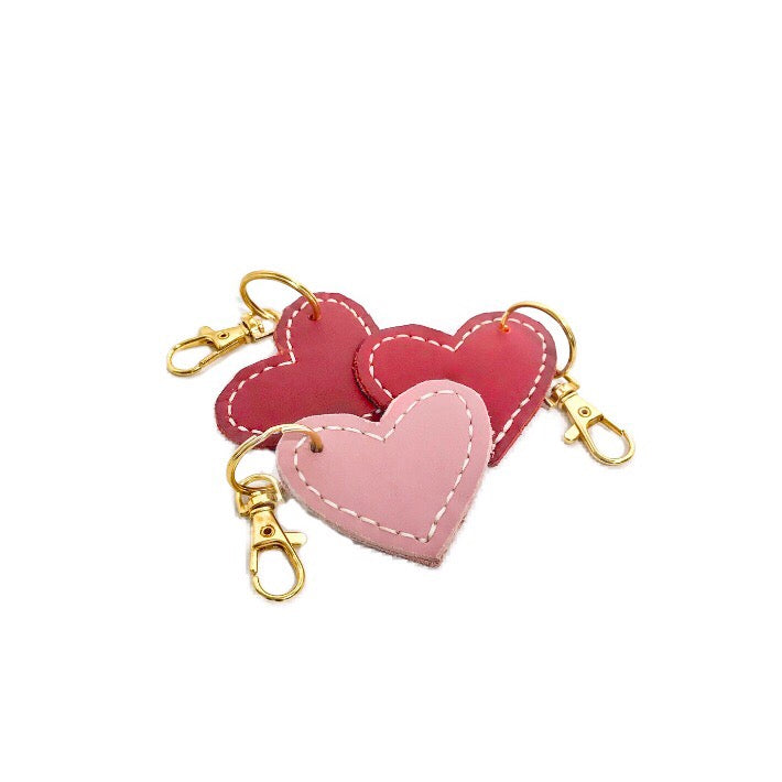 Genuine Leather Heart Shape Key Chain