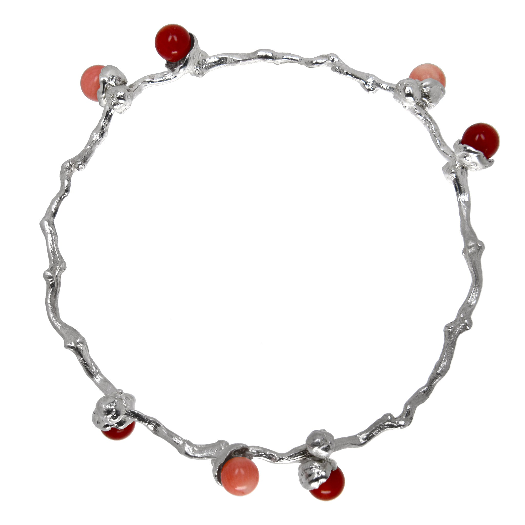 Dates Branch Bracelet - Sterling Silver with Coral Beads