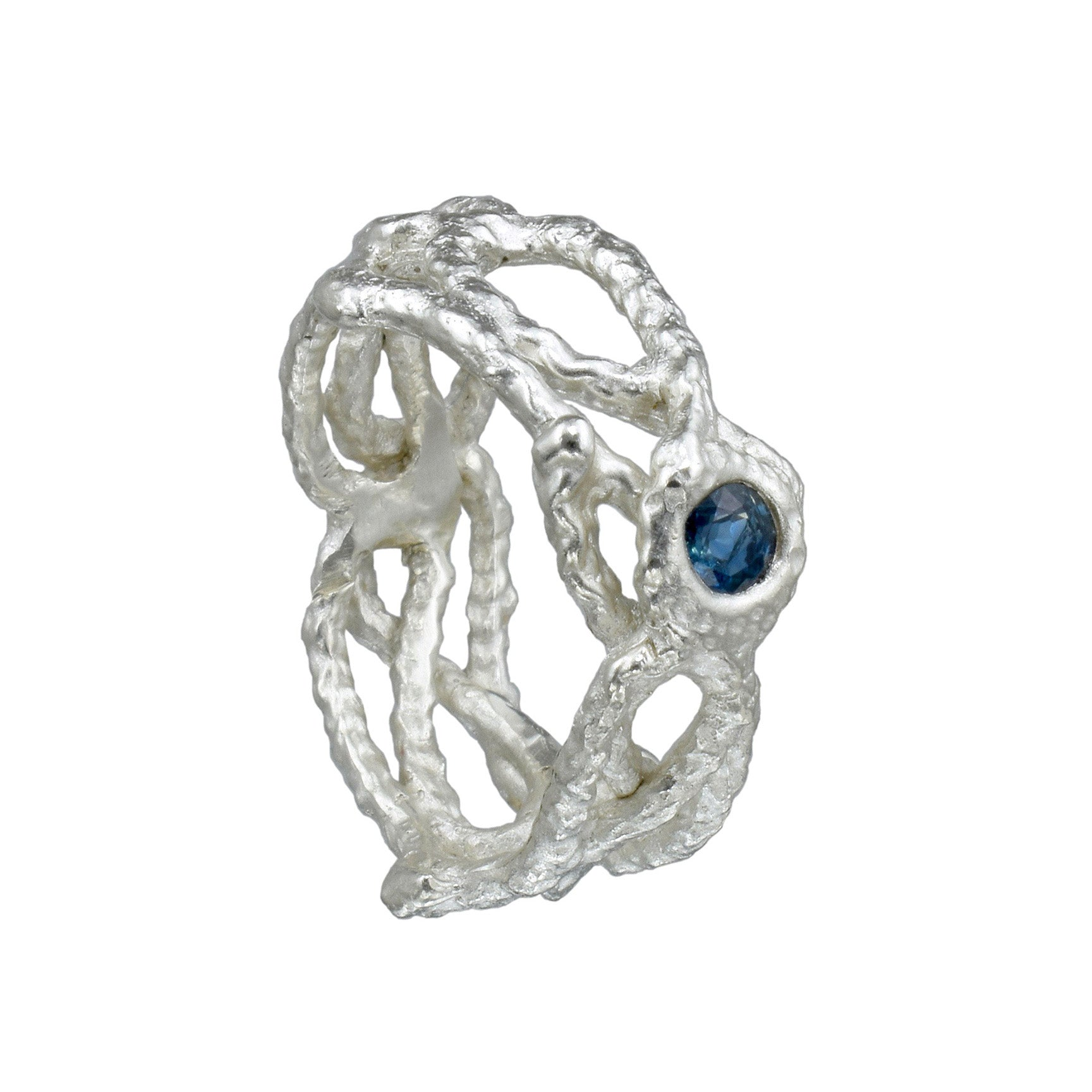 Sterling Silver Fishing Net Ring with a Blue Sapphire - US Size 6.5