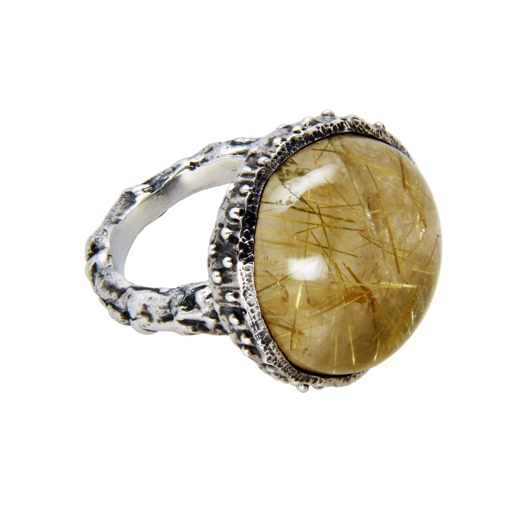 Acorn Ring with Rutilated Quartz - Oxidized Sterling Silver - US Size 6.5