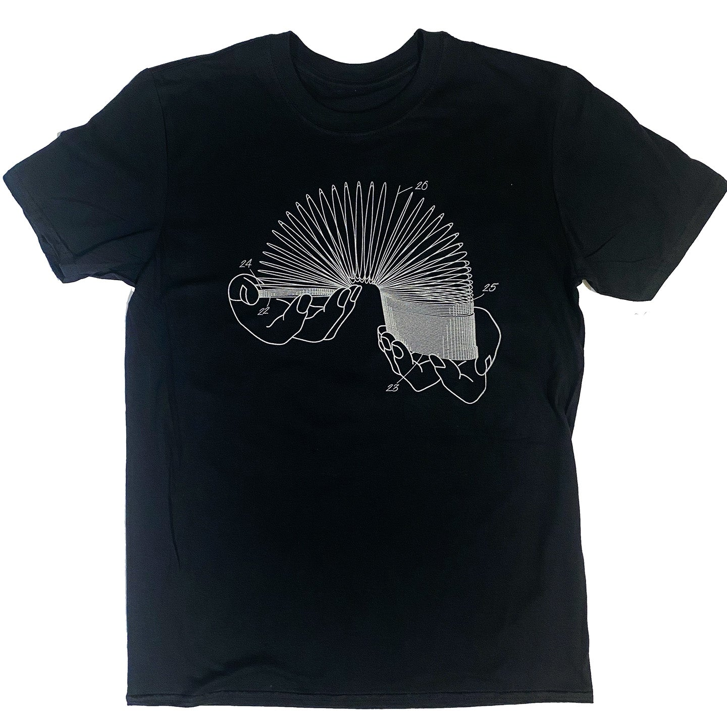 Slinky Patent T-Shirt - Black with Metallic Silver Ink