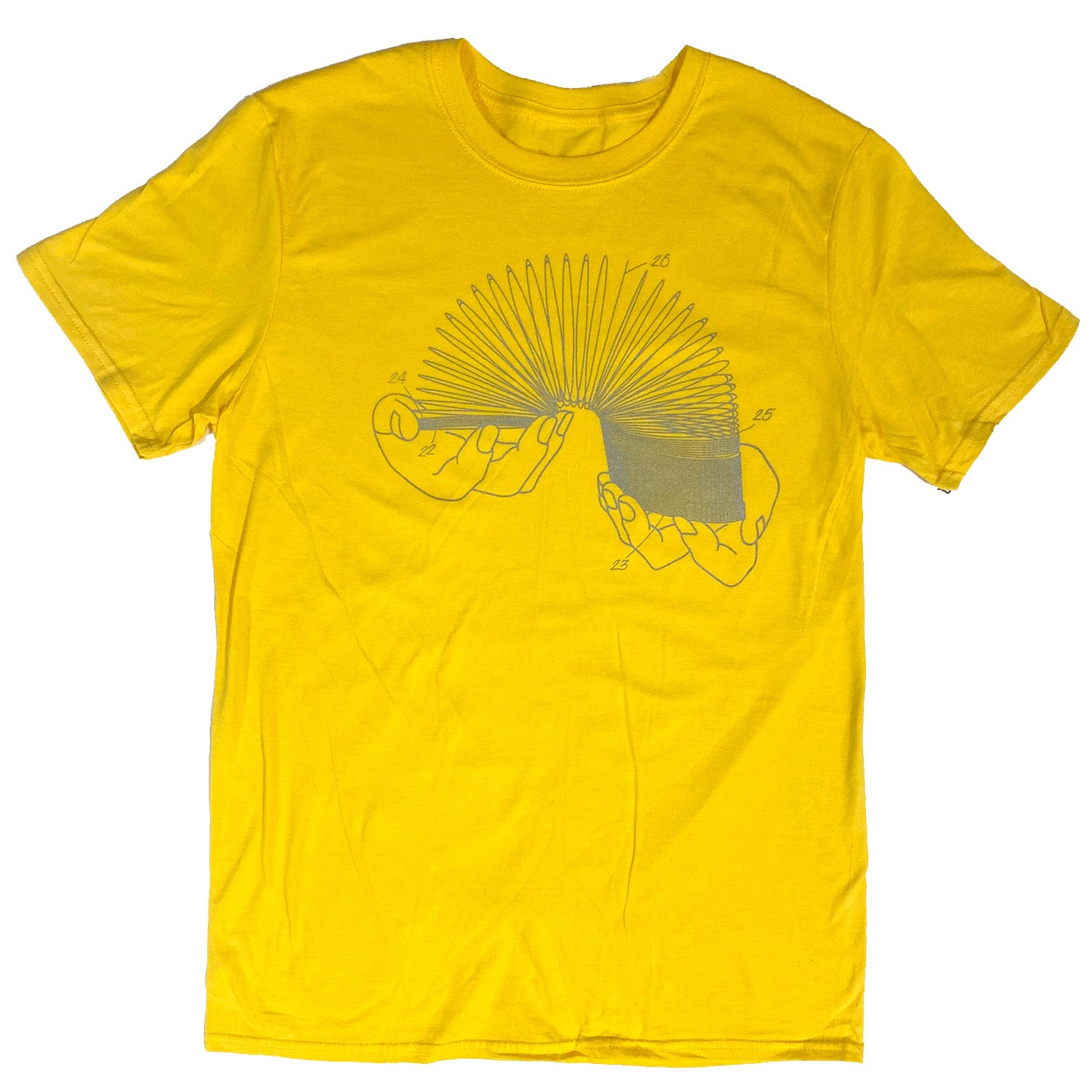 Slinky Patent T-Shirt - Yellow with Metallic Silver Ink