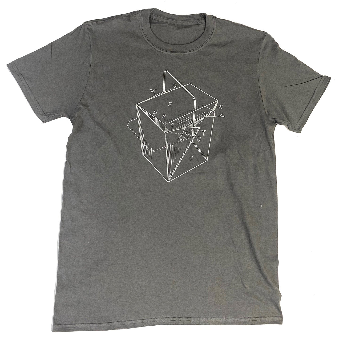 Take-Out Container Patent T-Shirt - Charcoal with Metallic Silver Ink