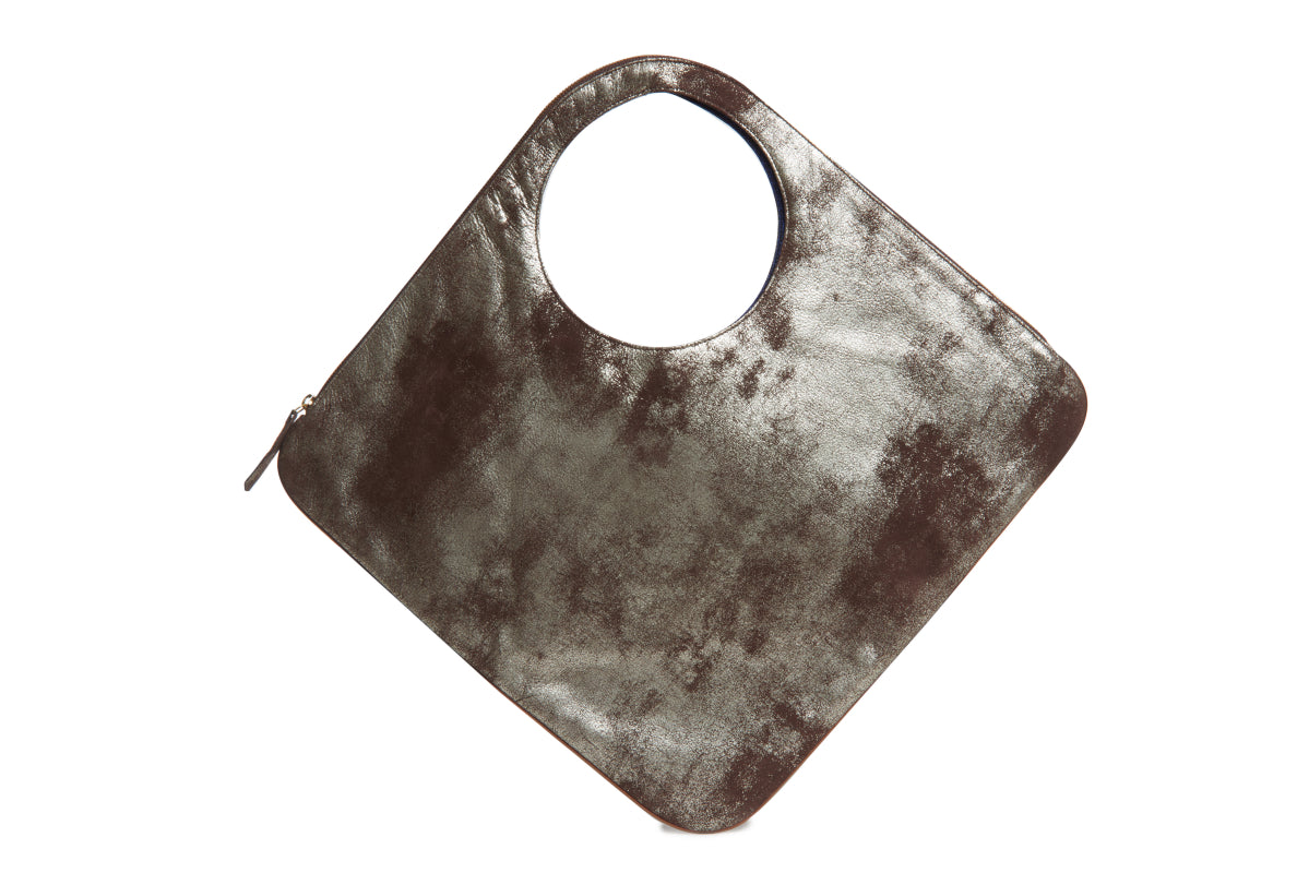 Diamond Bag - Metallic Espresso - Italian Leather