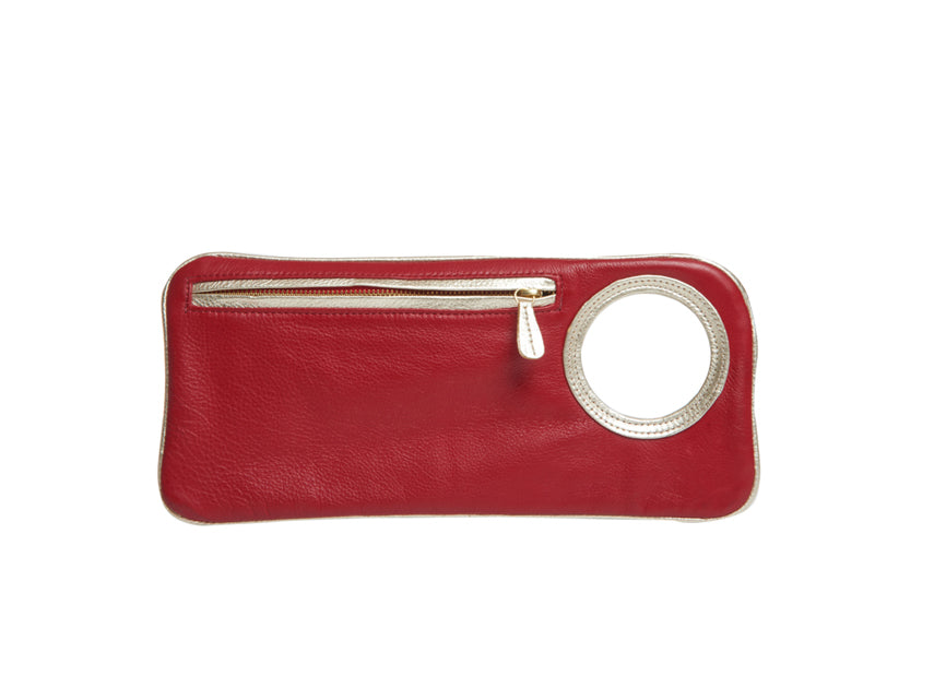 Hands-Free Bracelet Bag - Medium - Red/Pearl - Italian Leather