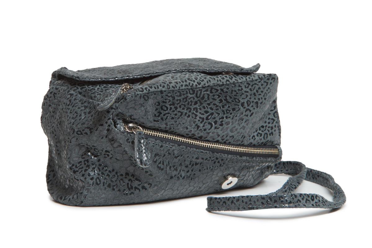 Josephina Convertible Bag - Cheetah Print on Suede - Italian Leather