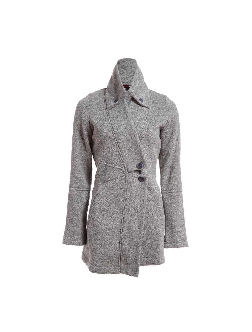 Double Collar Sweater Jacket - Ice Grey Heather
