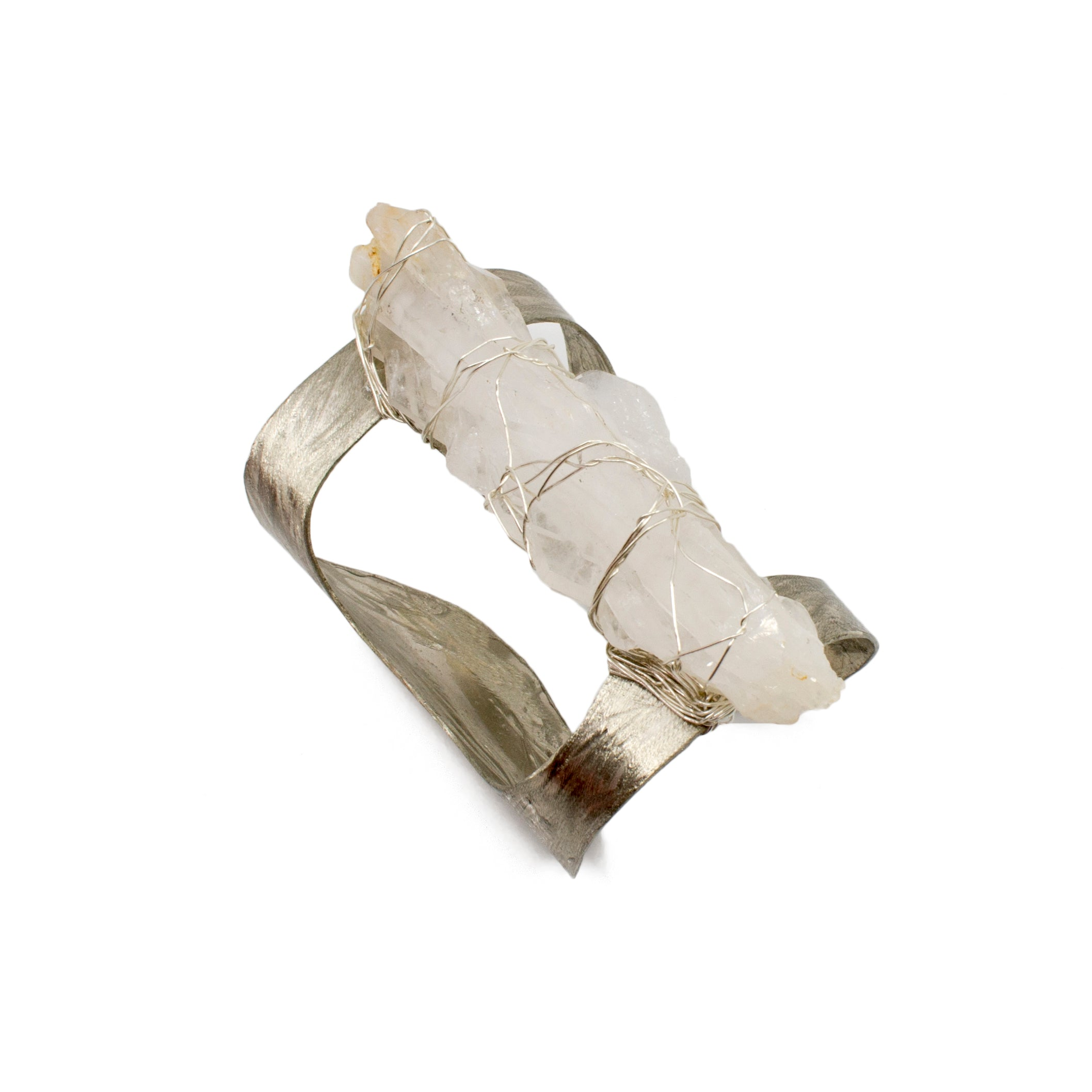 Hammered Silver Cuff with Quartz