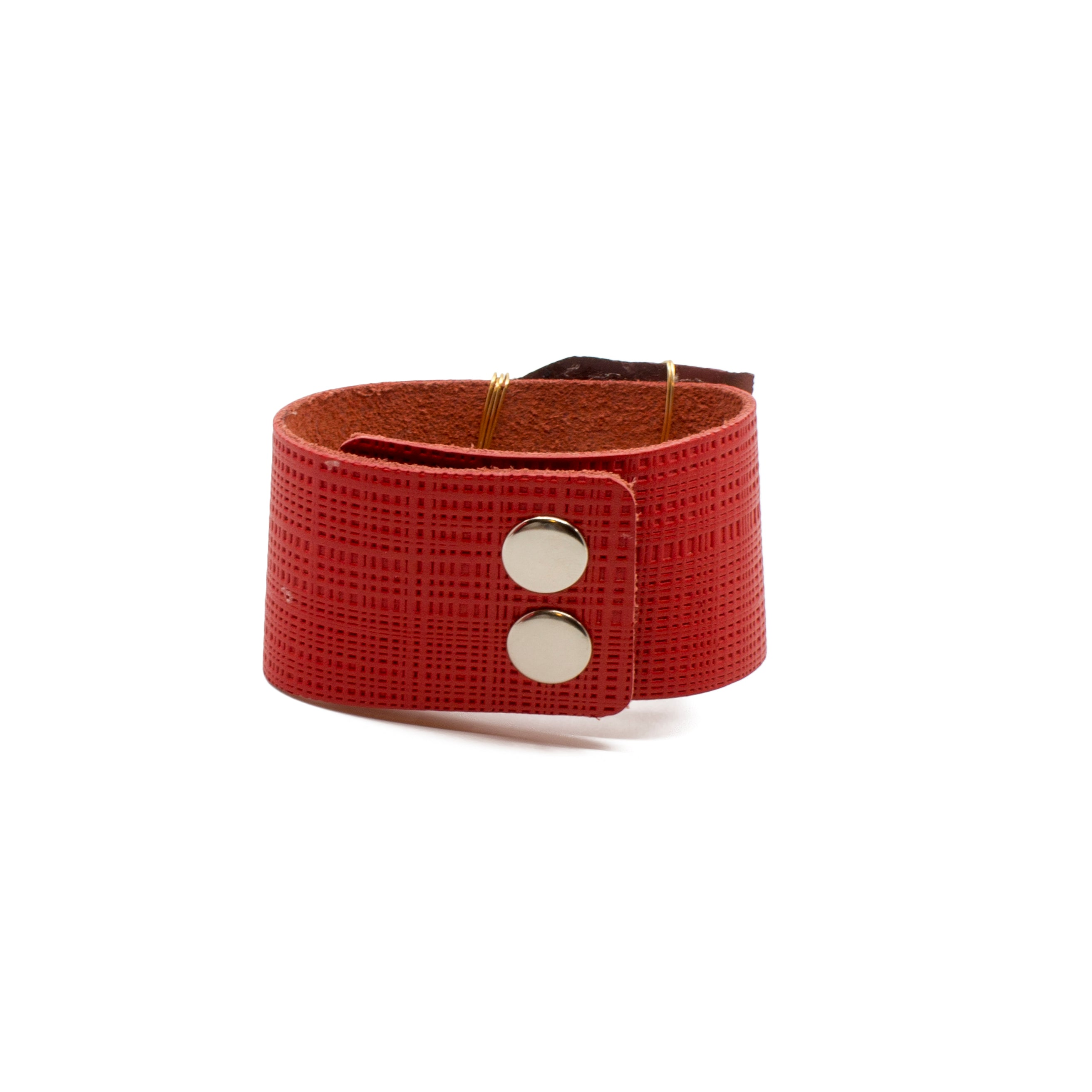 Red Leather Cuff with Agate & Druzy