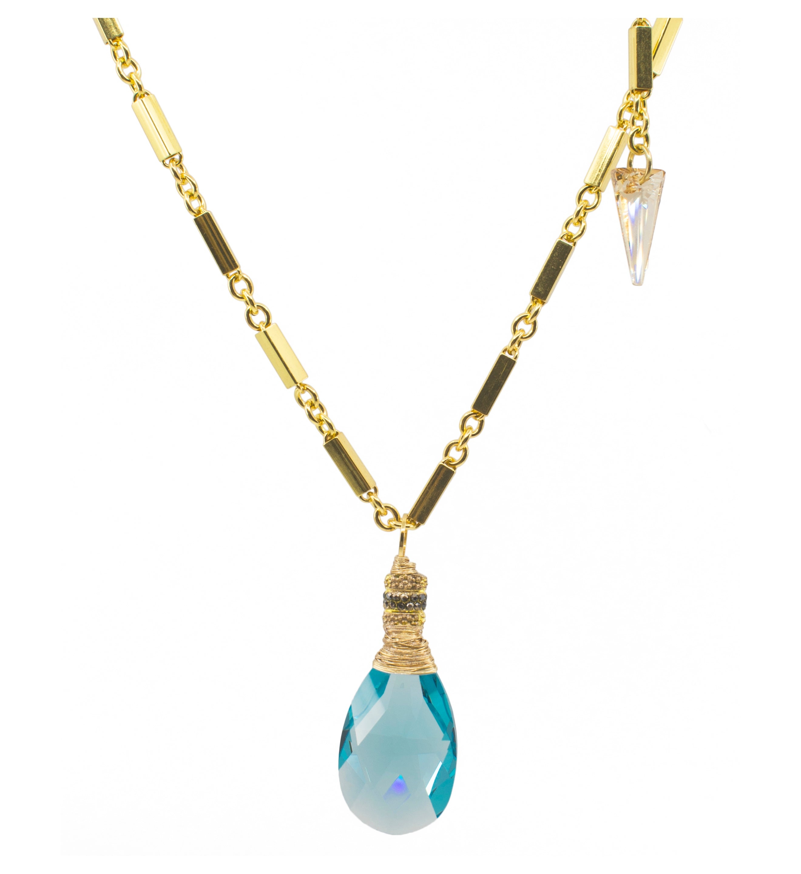 Aqua Swarovski Pendant on Gold Plated Chain