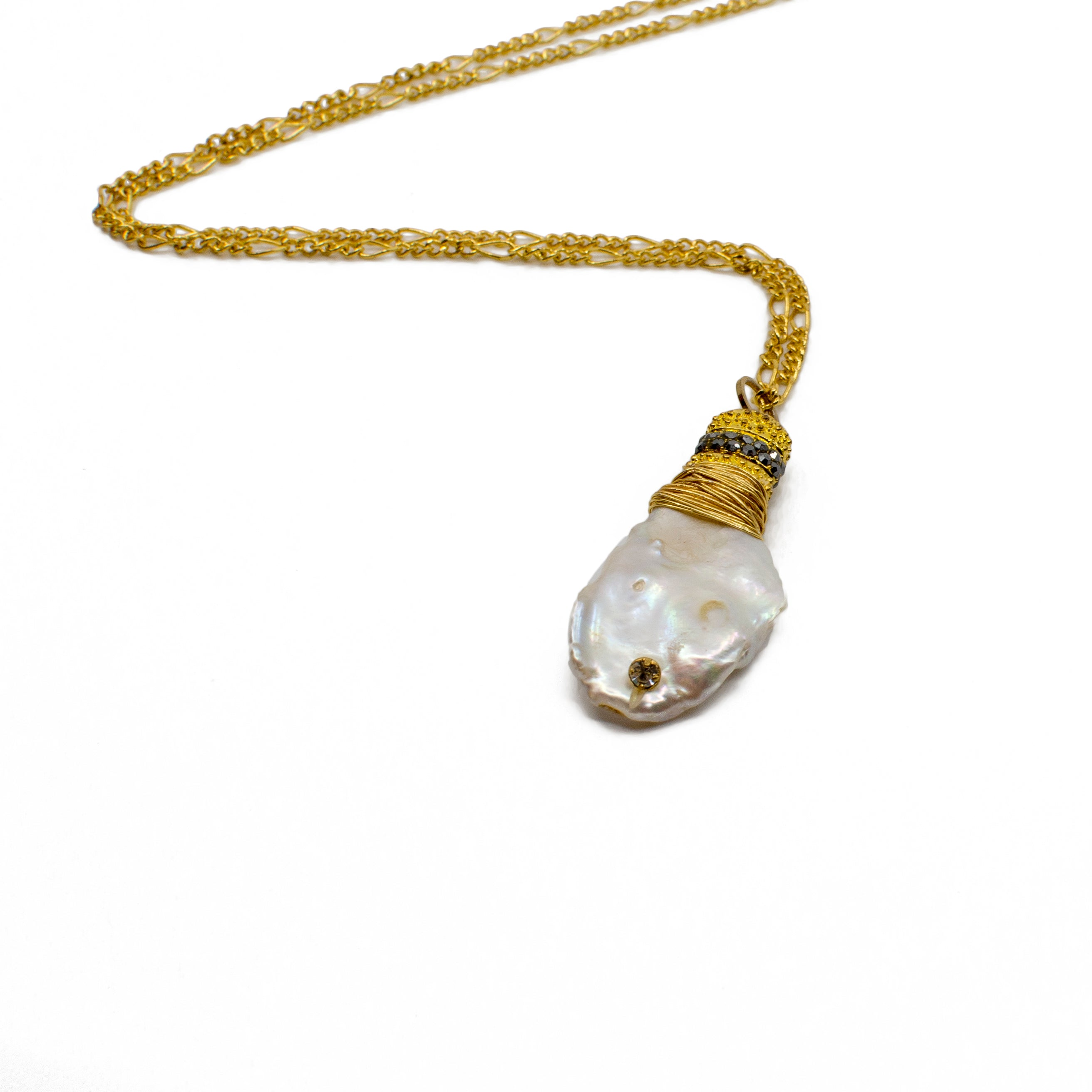 White Baroque Pearl Pendant on Gold Plated Chain
