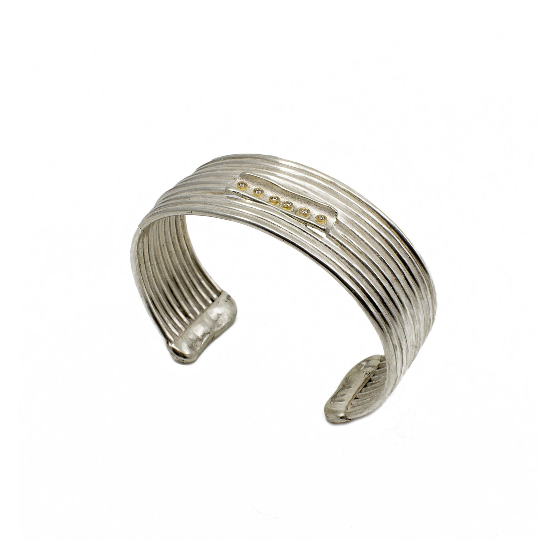 Lines Cuff - Sterling Silver with Reclaimed Diamonds