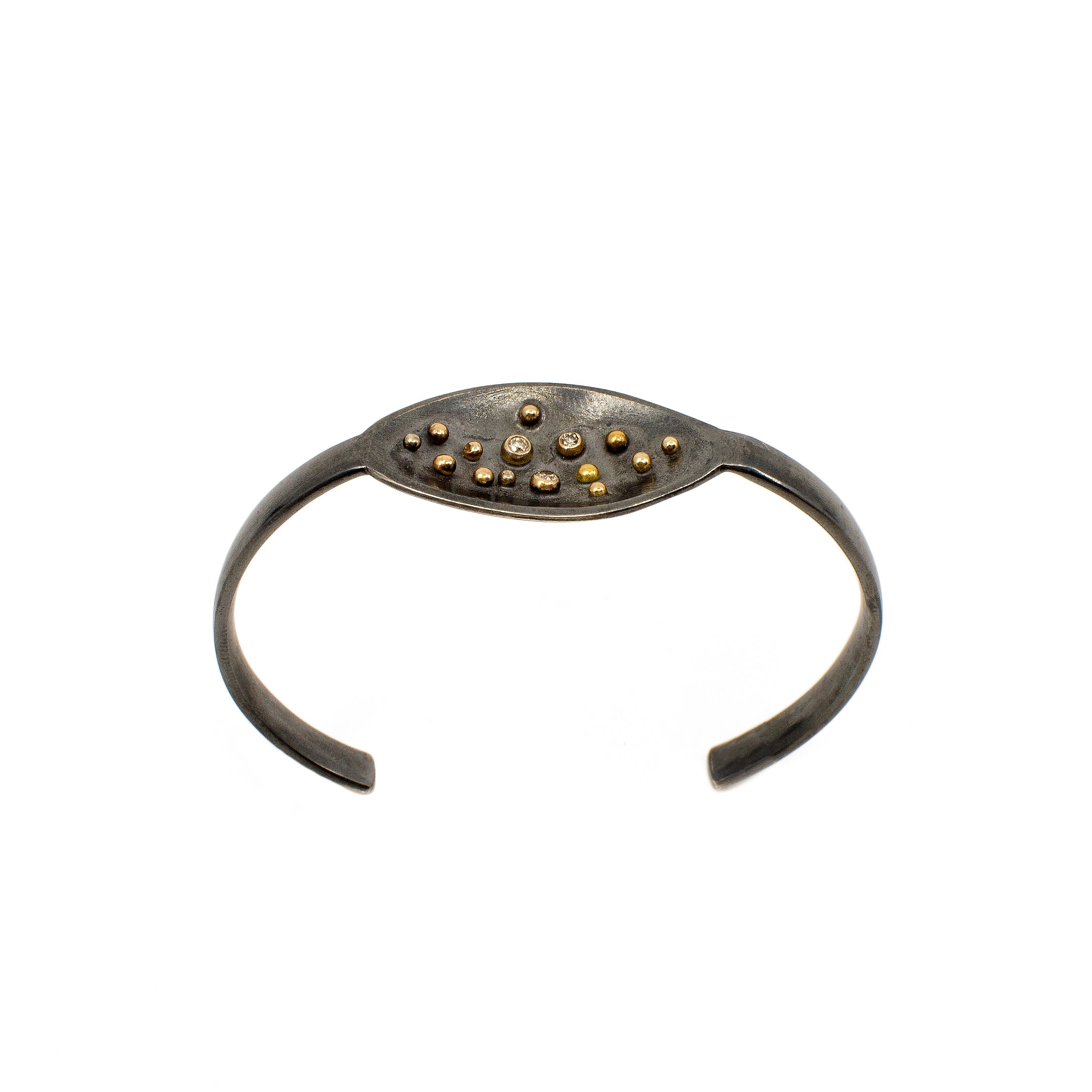 Spoon Cuff - Sterling Silver Oxidized with Reclaimed Diamonds
