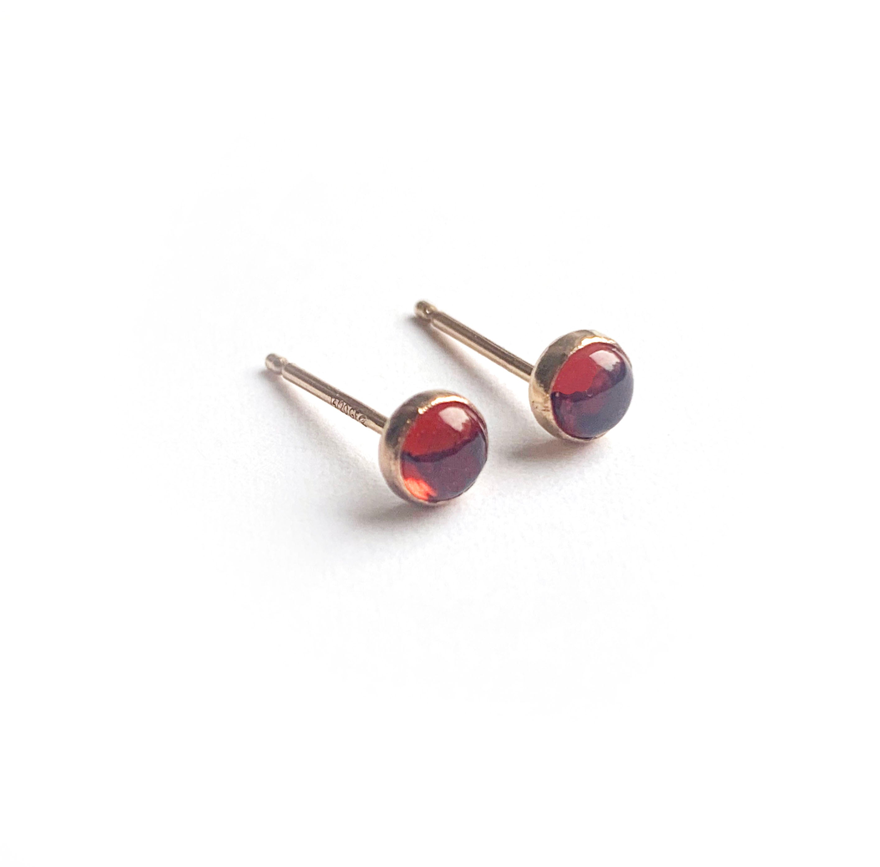 Tiny Gemstone Earrings - 14K Gold Filled + Garnet