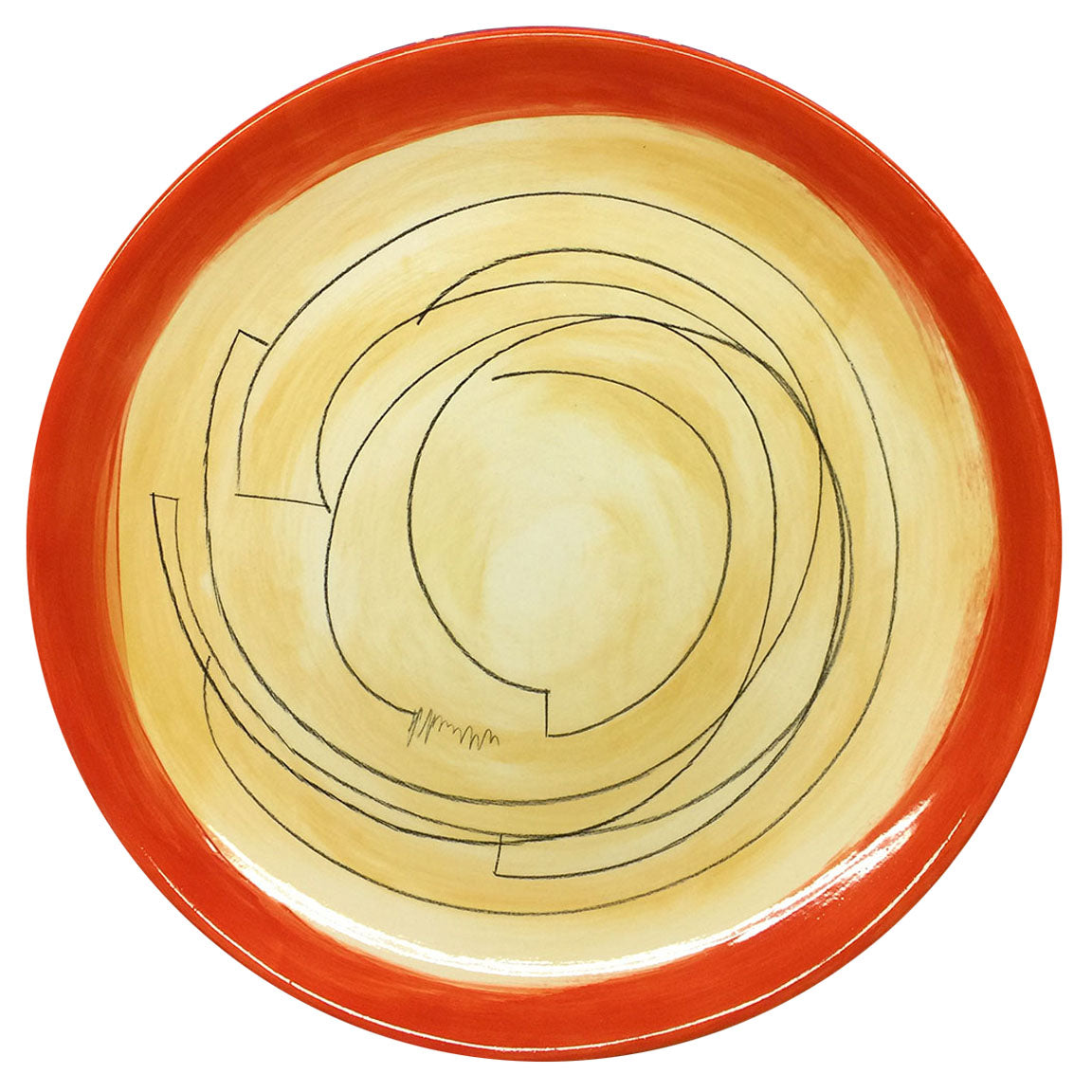 PLATTER #37 - GOLD WITH RED RIM - HAND-PAINTED EARTHENWARE