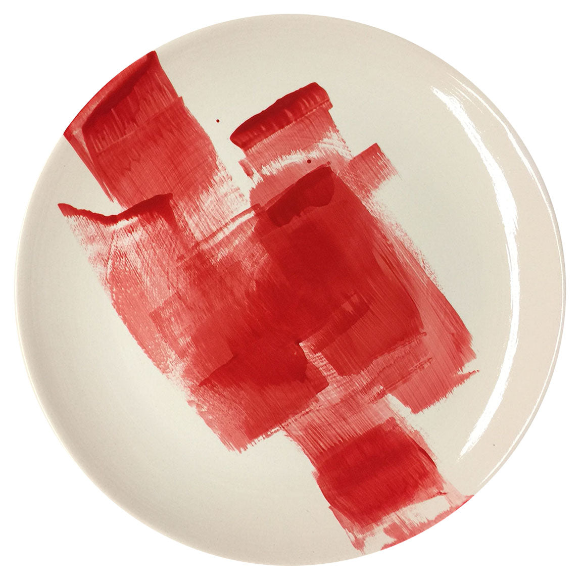 PLATTER #4 - RED ON WHITE - HAND-PAINTED EARTHENWARE