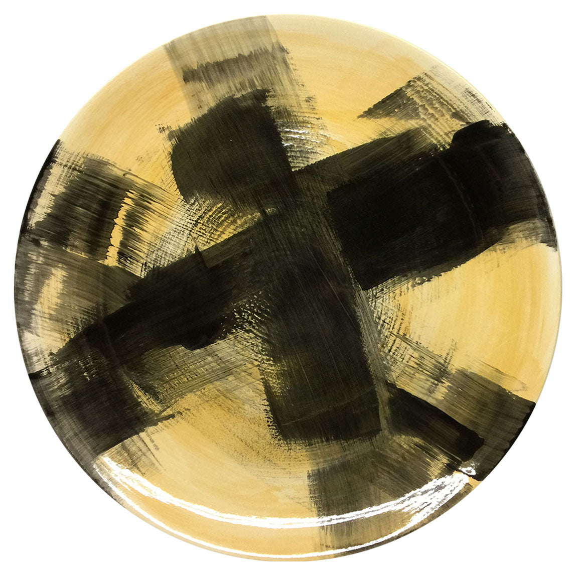 PLATTER #23 - BLACK, GREY, BLUE & CHARTREUSE - HAND-PAINTED EARTHENWARE