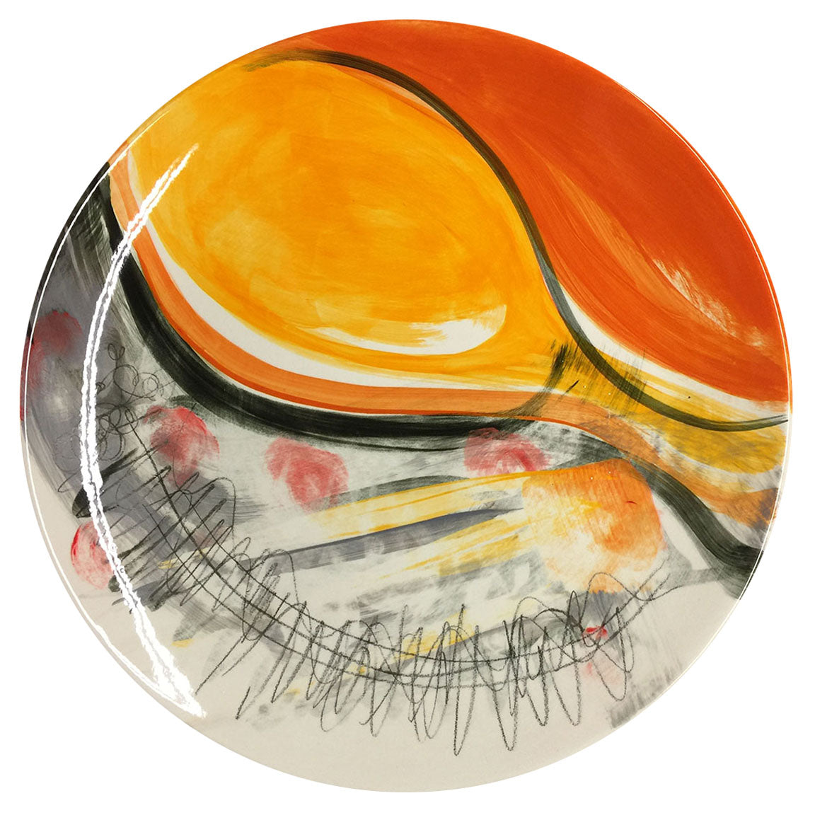 PLATTER A - RED, ORANGE, GREY, GOLD & BLACK - HAND-PAINTED EARTHENWARE