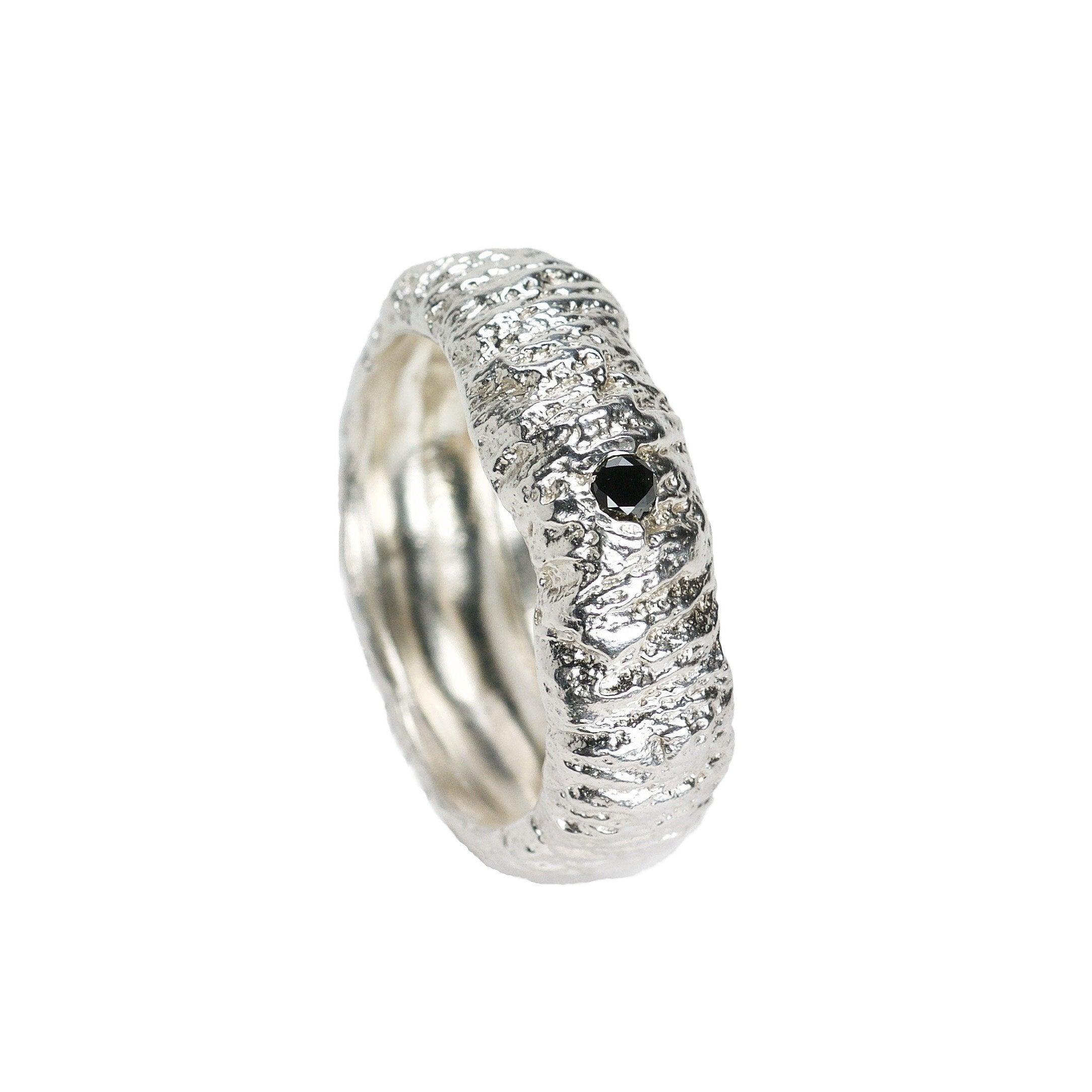 Tree Trunk Imprint Ring - Sterling Silver  - US Size 9