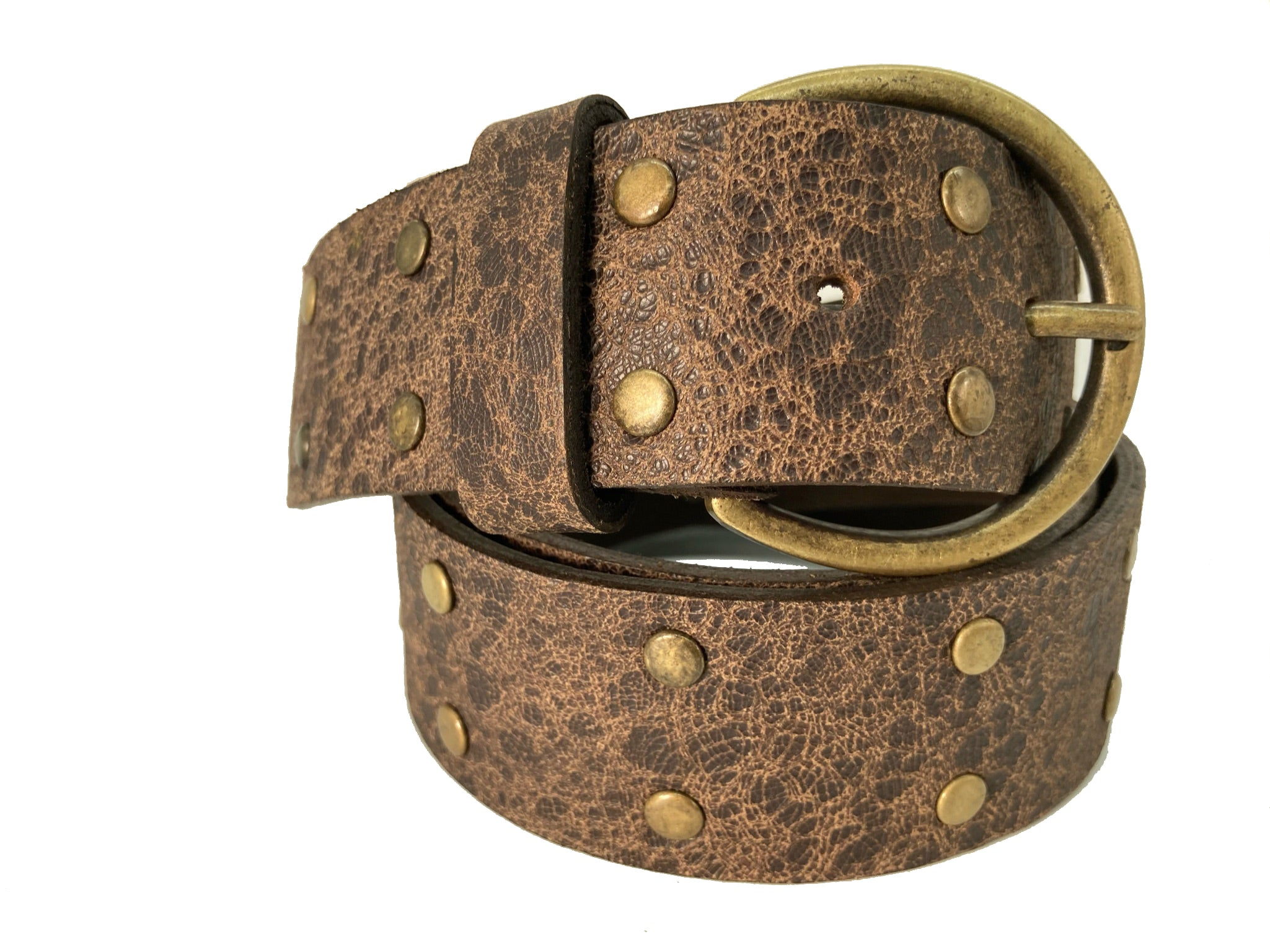 "Handcrafted Leather Belt - ""Brass Dot"""