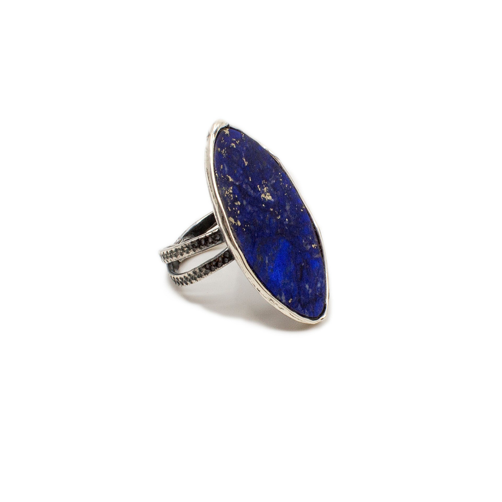Ring with Lapis Sterling Silver Oxidized