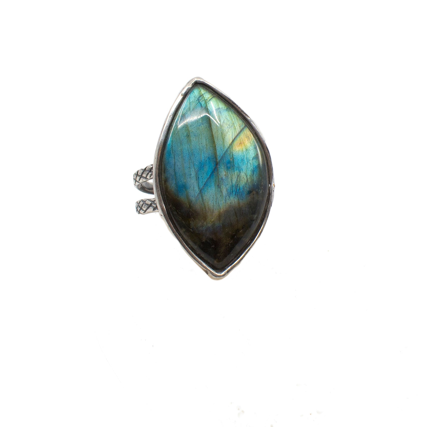 Cross Ring with Labradorite