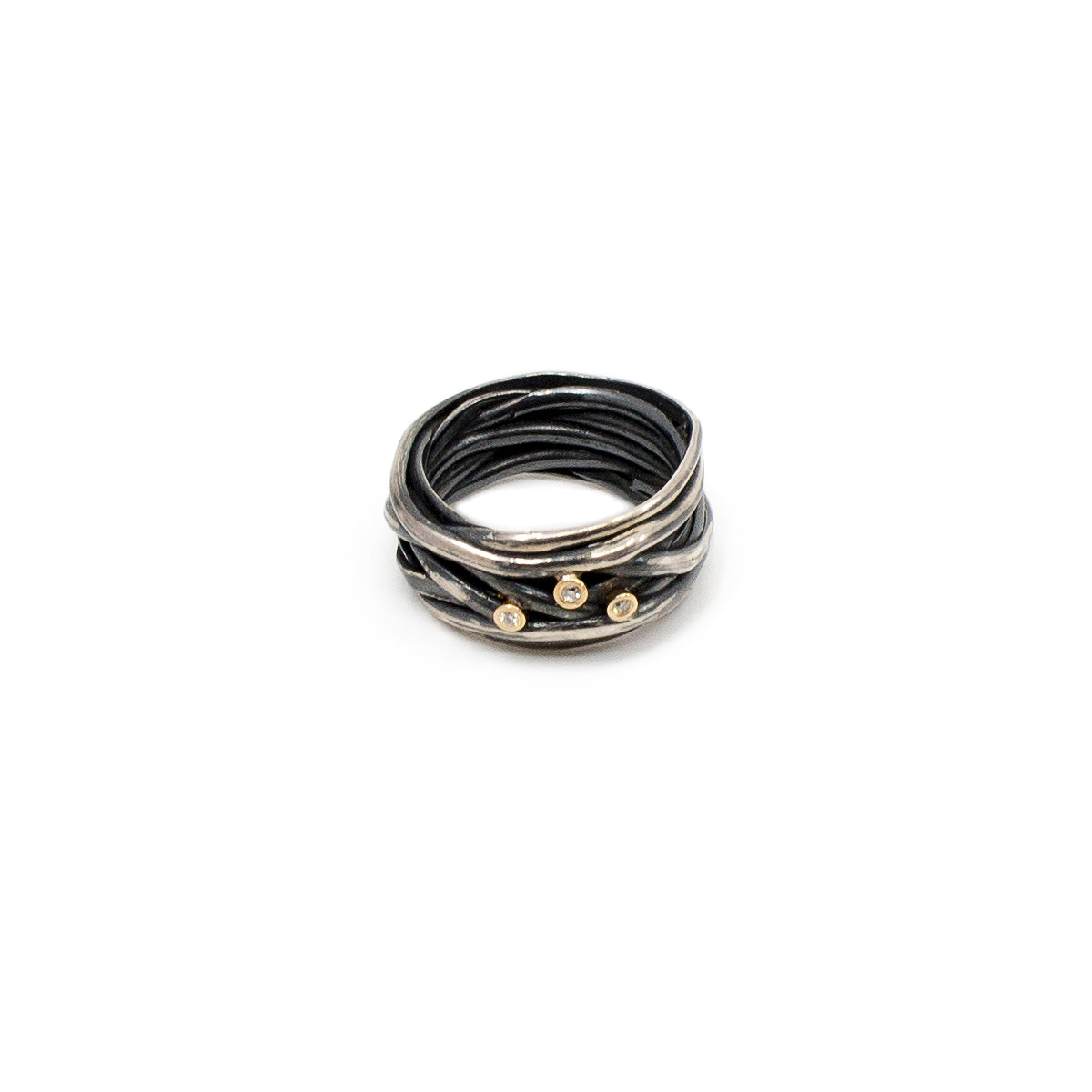 Ring Nest Sterling Silver Oxidized with Recycled Diamonds
