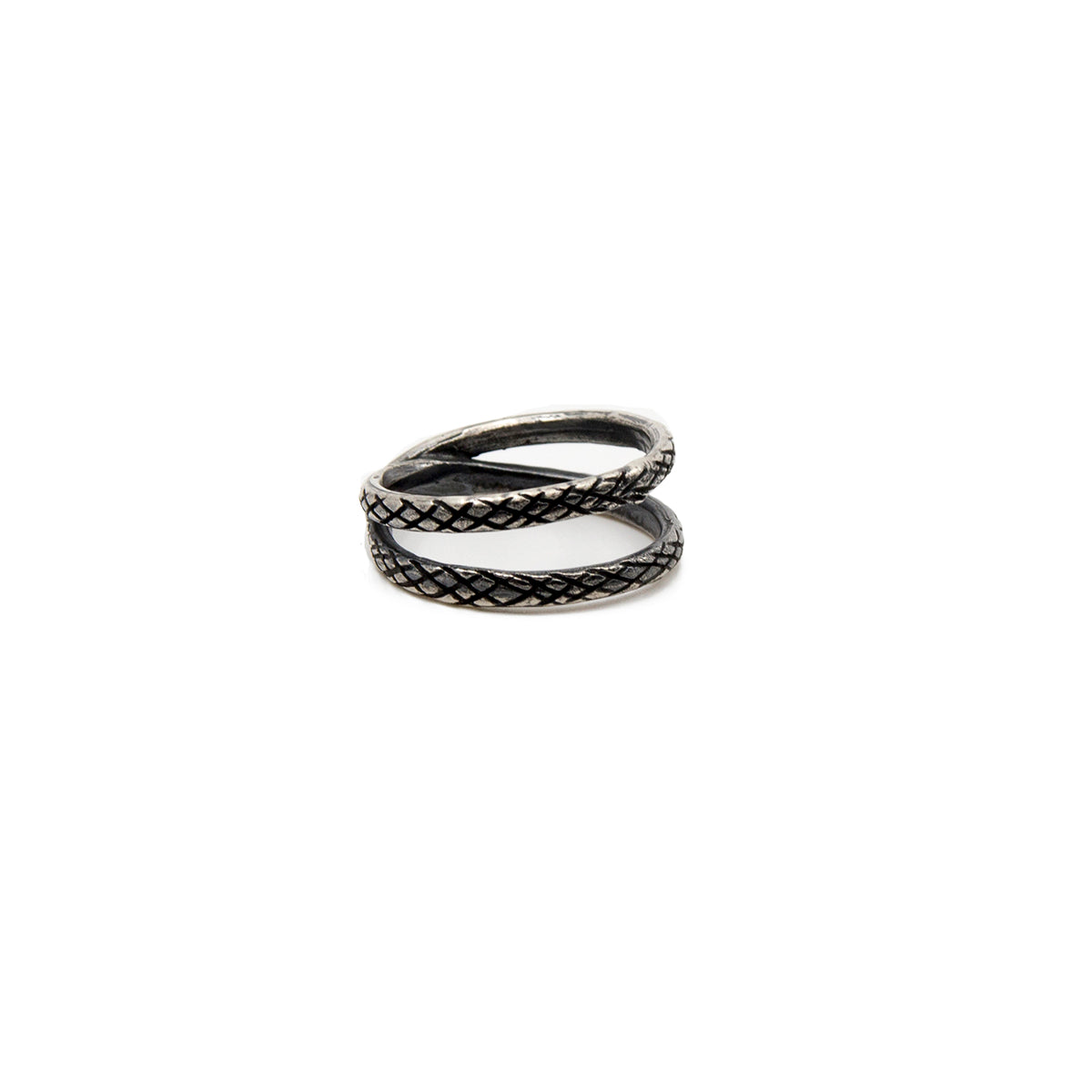 Cross Ring Oxidized Snake Pattern Sterling Silver