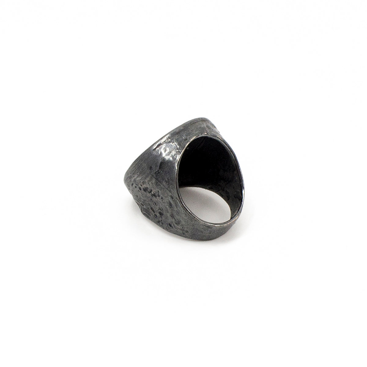 Signet Ring - Oxidized Silver with Diamonds