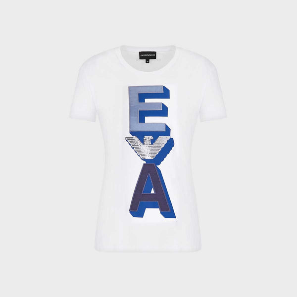 Emporio Armani Stretch Jersey T-Shirt With Sequin-Embroiderey And Applique Monogram