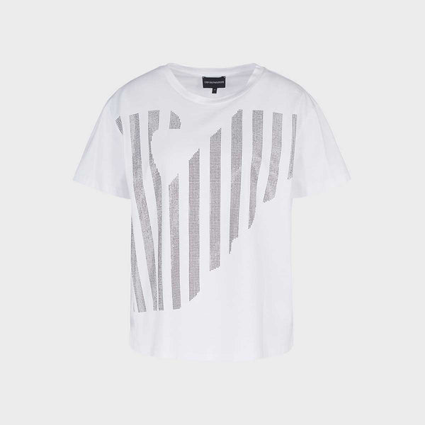 Emporio Armani Stretch Jersey T-Shirt With Studded Eagle Pattern