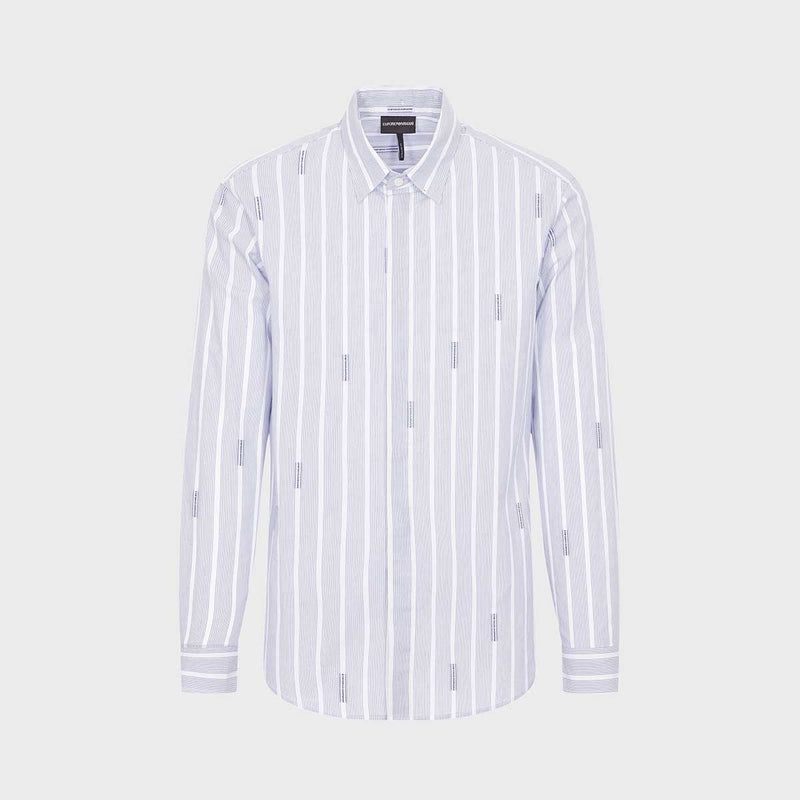 Stretch Cotton Logo Long Sleeve Shirt