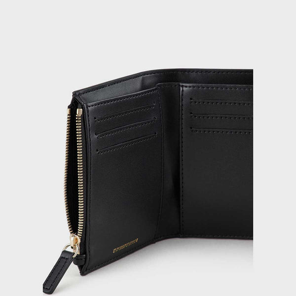 Emporio Armani Grain Print Wallet With Flap And Silkscreen Logo