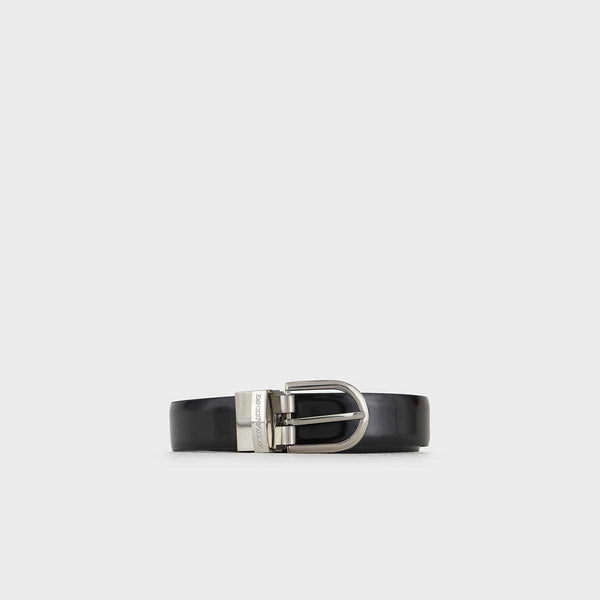 Emporio Armani Reversible Belt In Brushed Leather