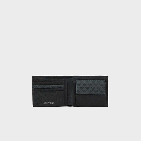 Emporio Armani Monogram Billfold Wallet With Coin Pocket
