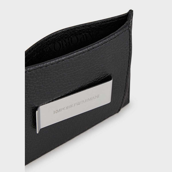 Emporio Armani Card Holder In Tumbled Leather With Clip And Embossed Logo
