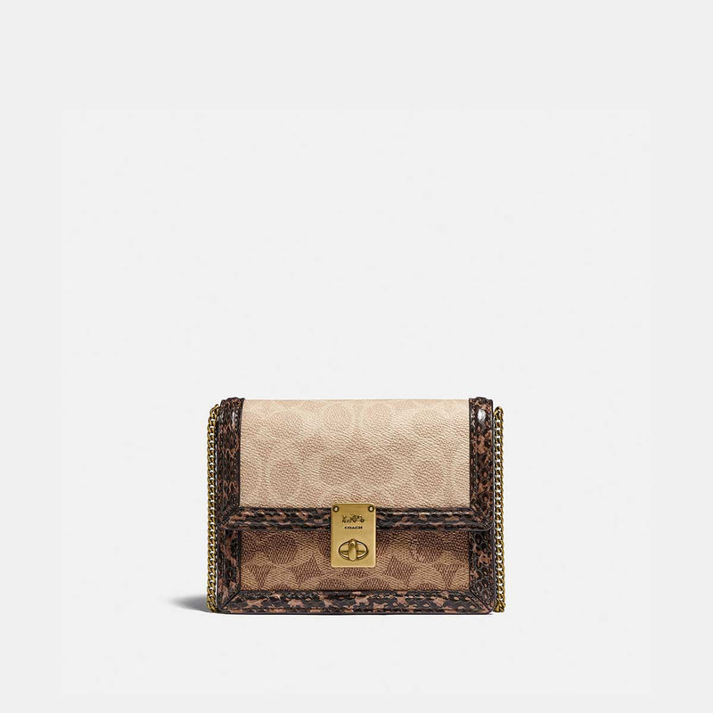 Coach Hutton Belt Bag In Blocked Signature Canvas With Snakeskin Detail