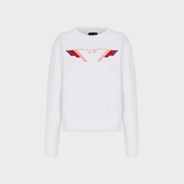 Emporio Armani Crew Neck Sweatshirt With Embroidered Logo