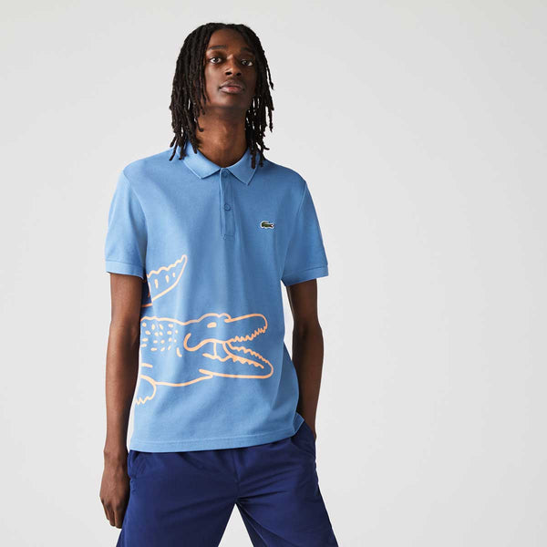 Lacoste Men's Regular Fit Crocodile Print Cotton Piqué Polo