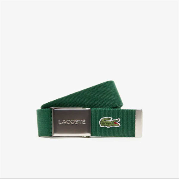 Lacoste Men's Engraved Buckle Woven Fabric Belt