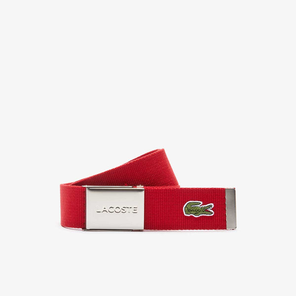 Lacoste Engraved Buckle Woven Fabric Belt