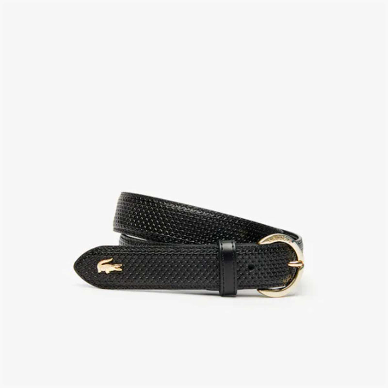 Lacoste Women's Lacoste Engraved Round Buckle Texturised Leather Belt