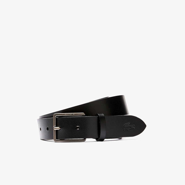 Lacoste Men's Engraved Lacoste And Embossed Crocodile Leather Tongue Buckle