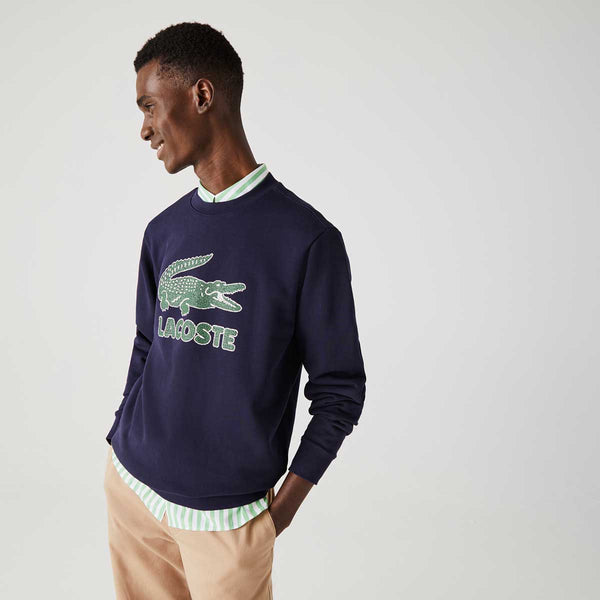 Lacoste Men's Crew Neck Crackled Print Logo Fleece Sweatshirt
