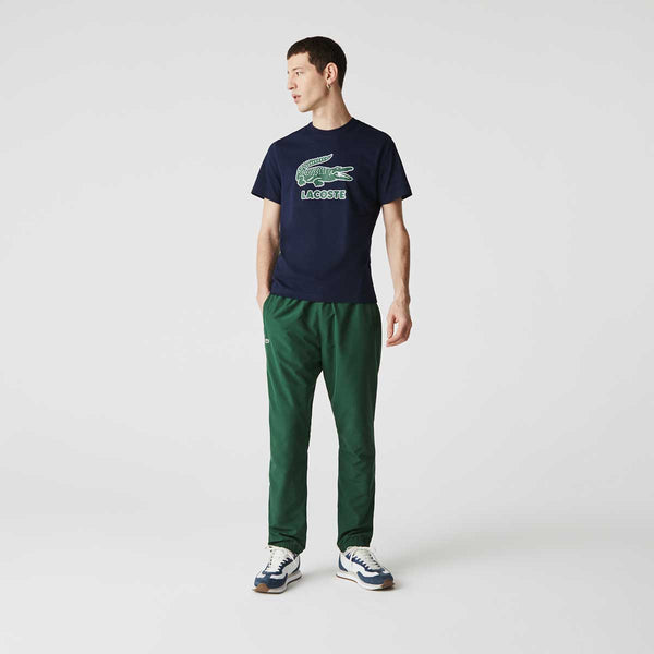 Lacoste Men's Crew Neck Crackled Logo Print Cotton T-shirt