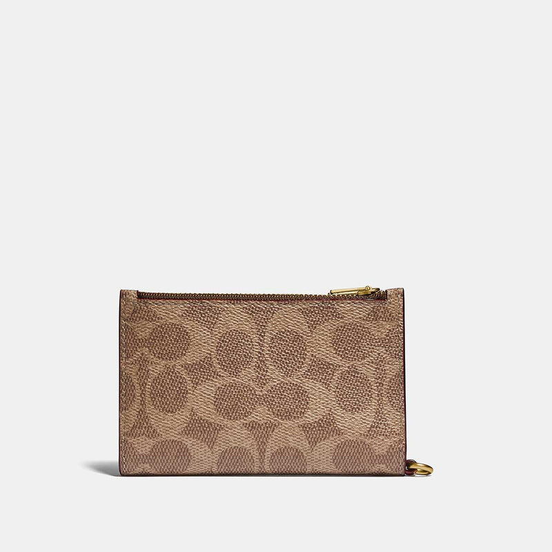 Coach Coated Canvas Signature Zip Chain Card Case